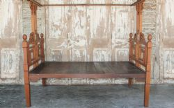 19th Century Teak Colonial 4 Poster Bed with Vintage Tiles <b>SOLD<b>